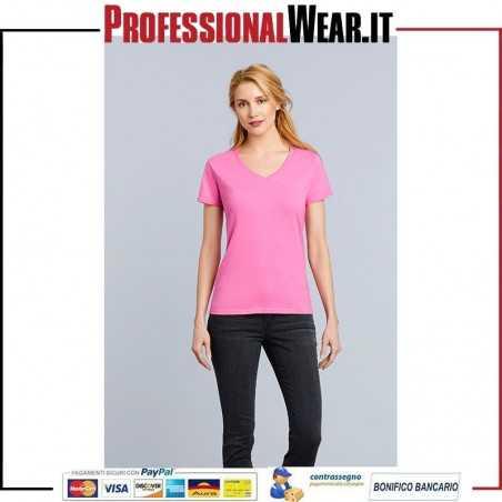 T-Shirt DONNA Collo V Manica Corta Premium Cotton